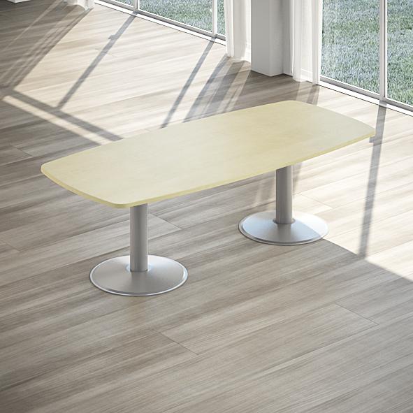 tavolo riunione ovale con 6 sedute e 3 armadi bassi